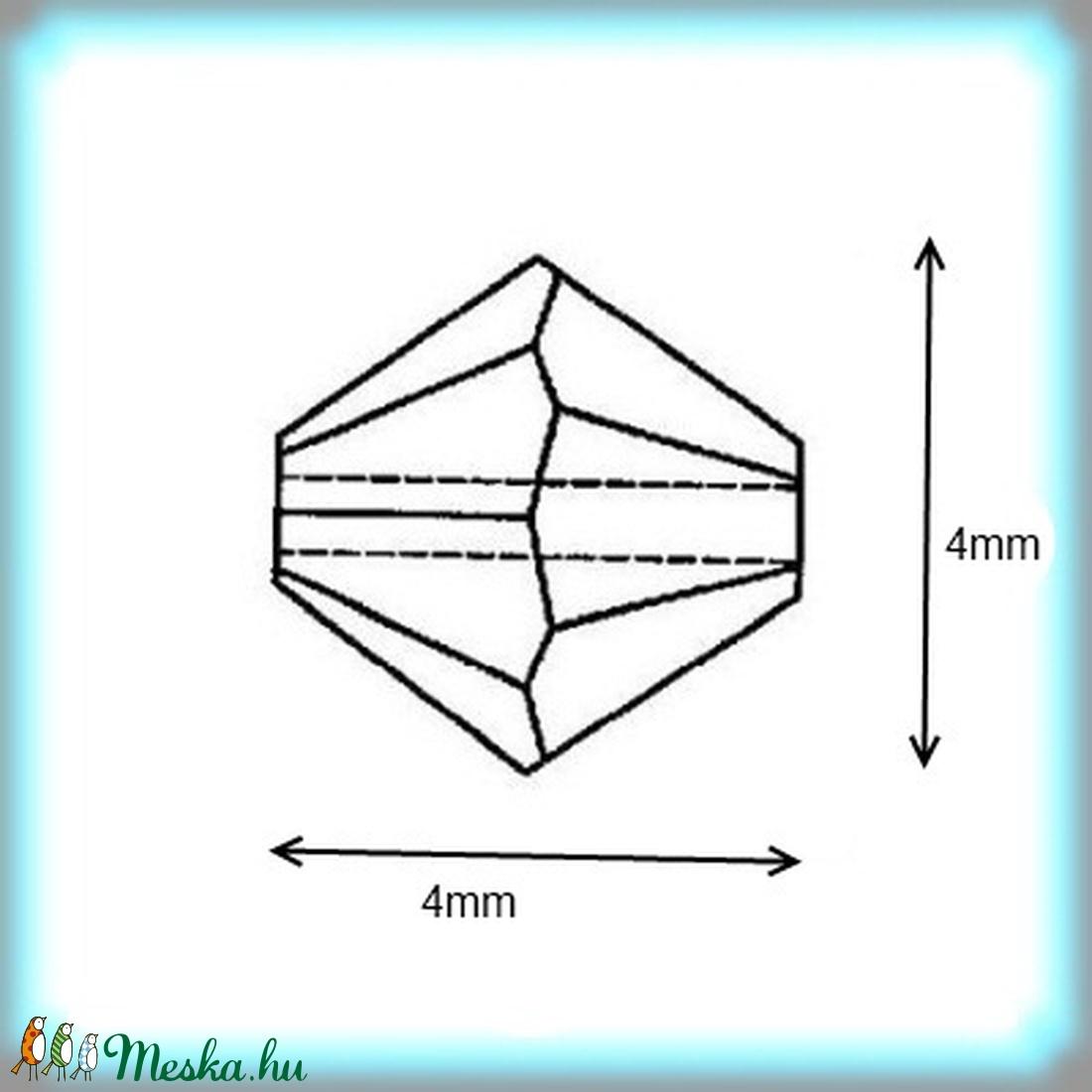 Ékszerkellék: Swarovski bicon 4mm-es AB2x bevonatos több színben SW5328-4ab2x 24db/csomag  - gyöngy, ékszerkellék - swarovski kristályok - Meska.hu