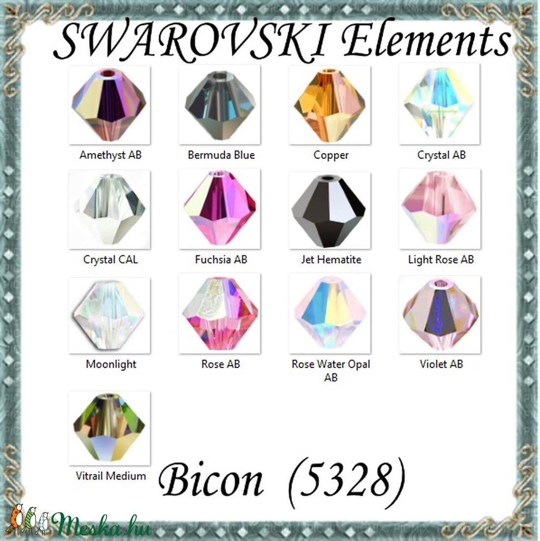 Ékszerkellék: Swarovski bicon 3mm-es AB bevonatos több színben SWGY5328-3AB 24db/csomag - gyöngy, ékszerkellék - swarovski kristályok - Meska.hu