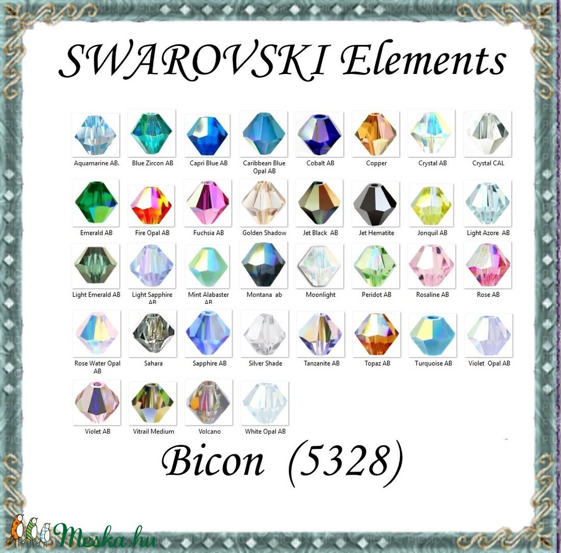 Ékszerkellék: Swarovski bicon 4mm-es AB bevonatos több színben SWGY5328-4AB 24db/csomag - gyöngy, ékszerkellék - swarovski kristályok - Meska.hu