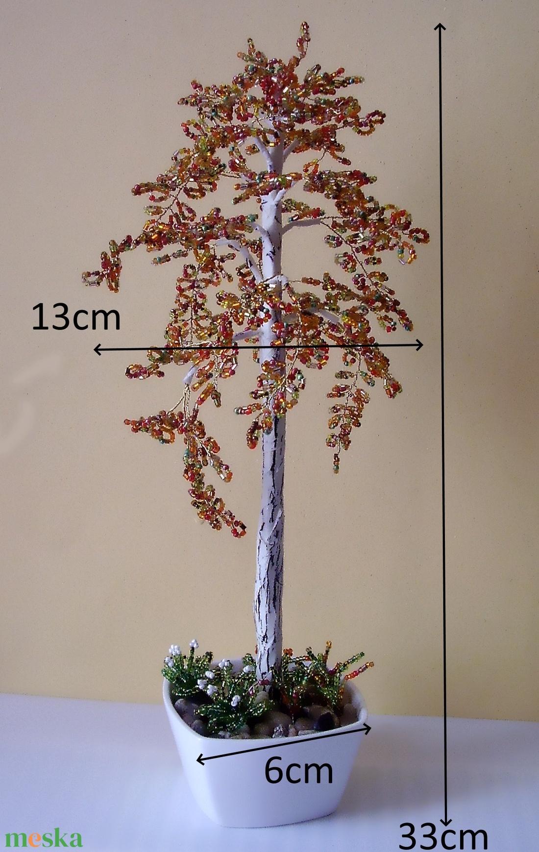 Gyöngyből készített őszi nyírfa  GYV01-3-33 - otthon & lakás - dekoráció - csokor & virágdísz - Meska.hu