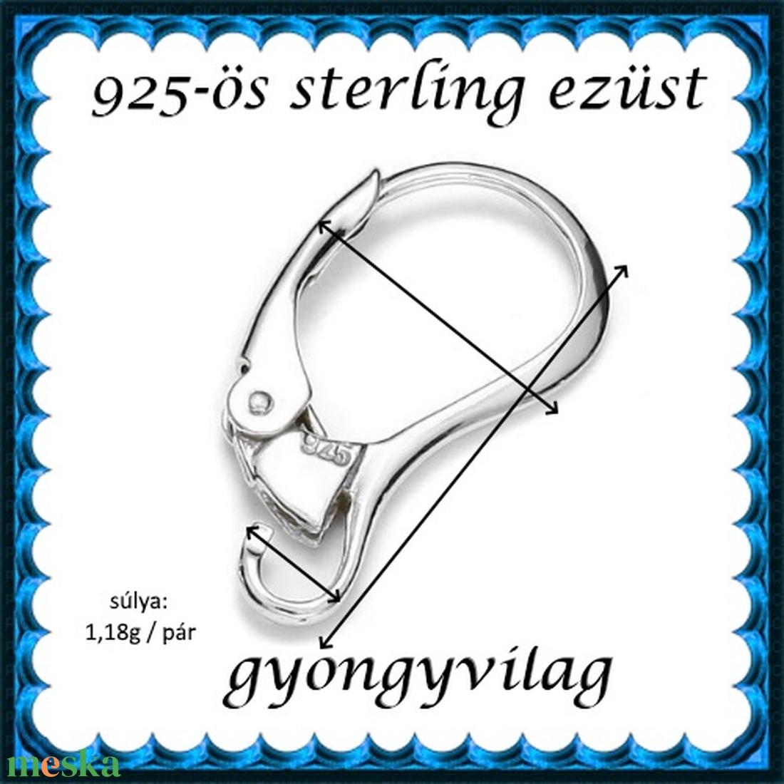 925-ös sterling ezüst ékszerkellék: fülbevalóalap biztonsági kapoccsal EFK K 33 - gyöngy, ékszerkellék - egyéb alkatrész - Meska.hu