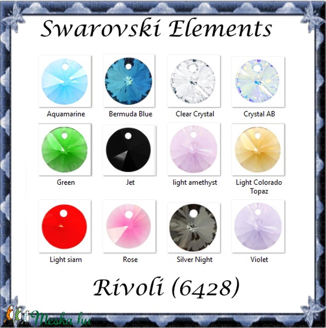 Swarovski rivoli 6mm-es több színben  4db /csomag SW6428-6 - gyöngy, ékszerkellék - swarovski kristályok - Meska.hu