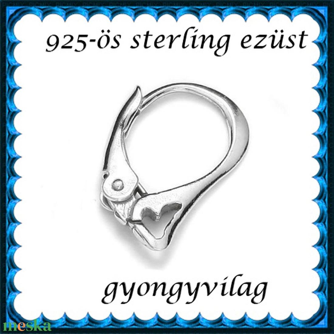 925-ös sterling ezüst ékszerkellék: fülbevalóalap biztonsági kapoccsal EFK K 28 - gyöngy, ékszerkellék - egyéb alkatrész - Meska.hu