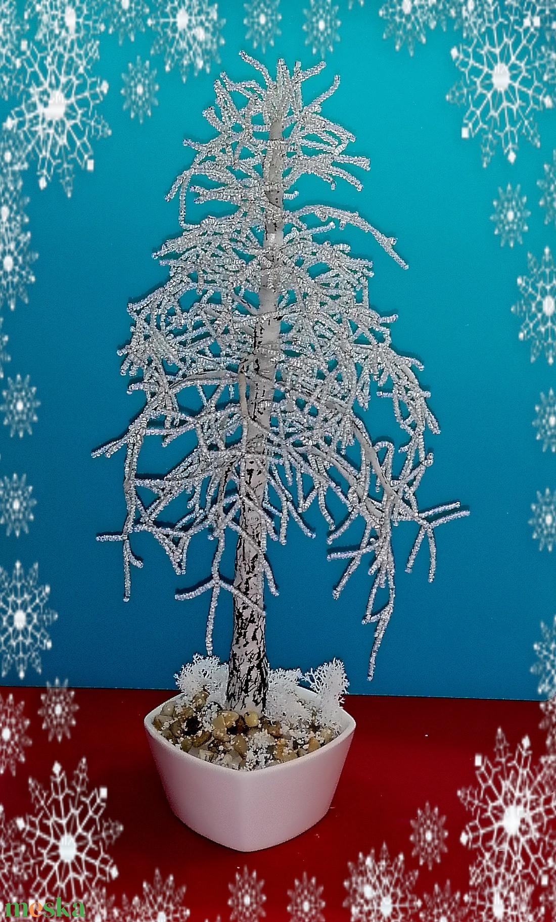 Gyöngyből készített téli fa  GYV20 - otthon & lakás - dekoráció - dísztárgy - Meska.hu