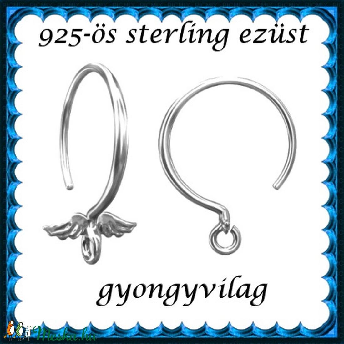 925-ös sterling ezüst ékszerkellék: fülbevalóalap akasztós EFK A 89 - gyöngy, ékszerkellék - egyéb alkatrész - Meska.hu