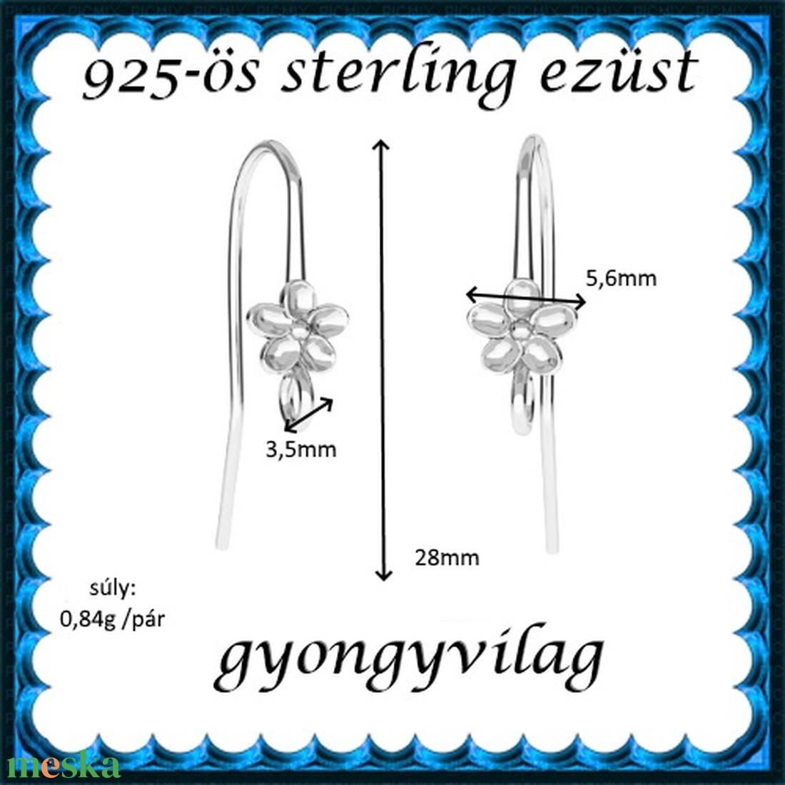 925-ös sterling ezüst ékszerkellék: fülbevalóalap akasztós EFK A 90 - gyöngy, ékszerkellék - egyéb alkatrész - Meska.hu
