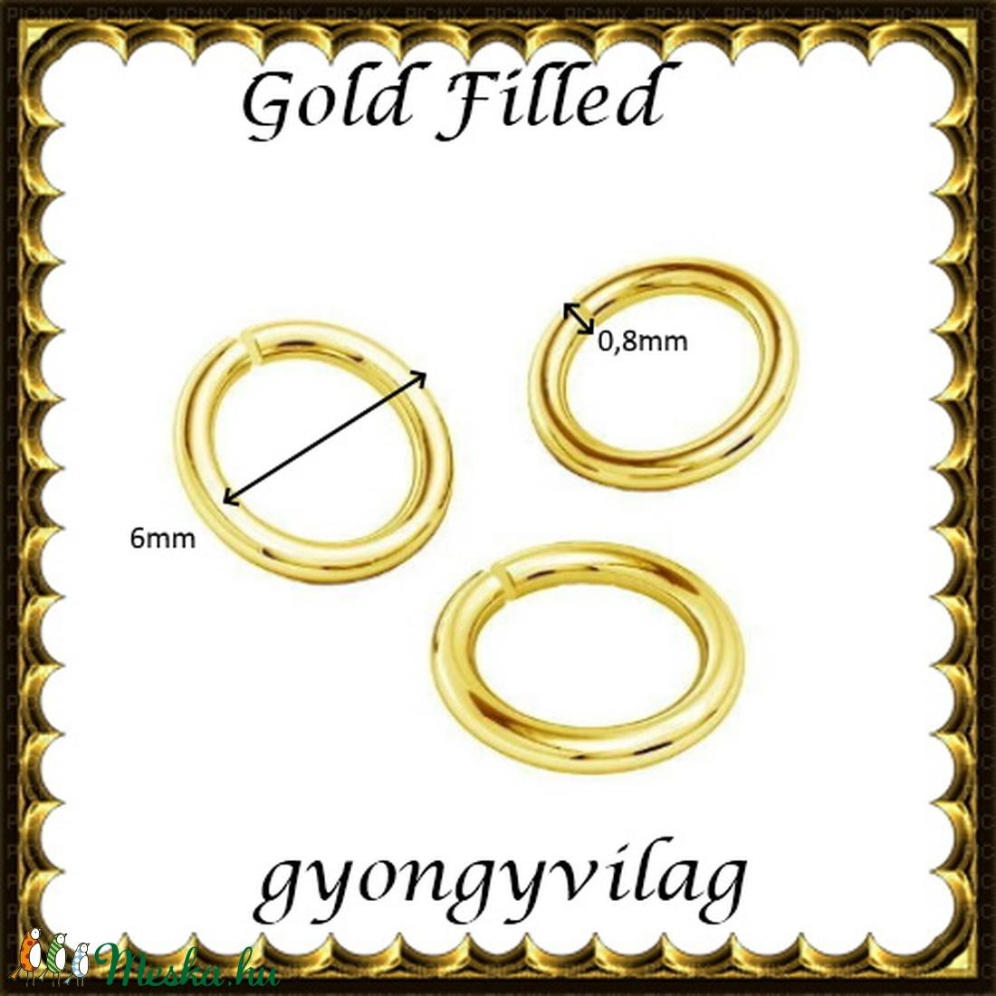 925-ös ezüst karika ESZK NY gold filled 6x0,8 - gyöngy, ékszerkellék - egyéb alkatrész - Meska.hu