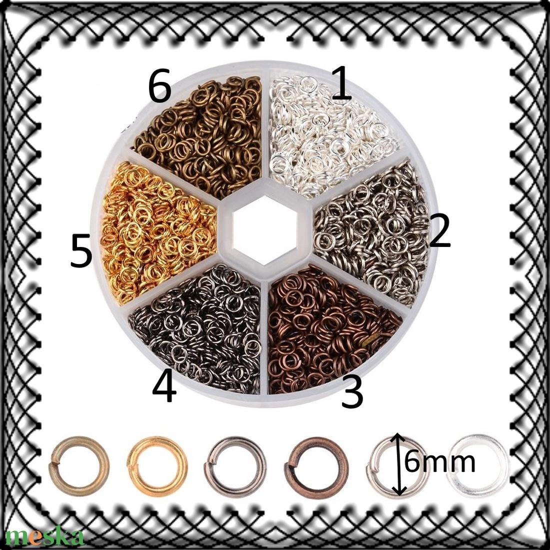 Ékszerkellék: szerelőkarika BSZKNY-6 x 0,7 több színben, 50 db/csomag - gyöngy, ékszerkellék - egyéb alkatrész - Meska.hu