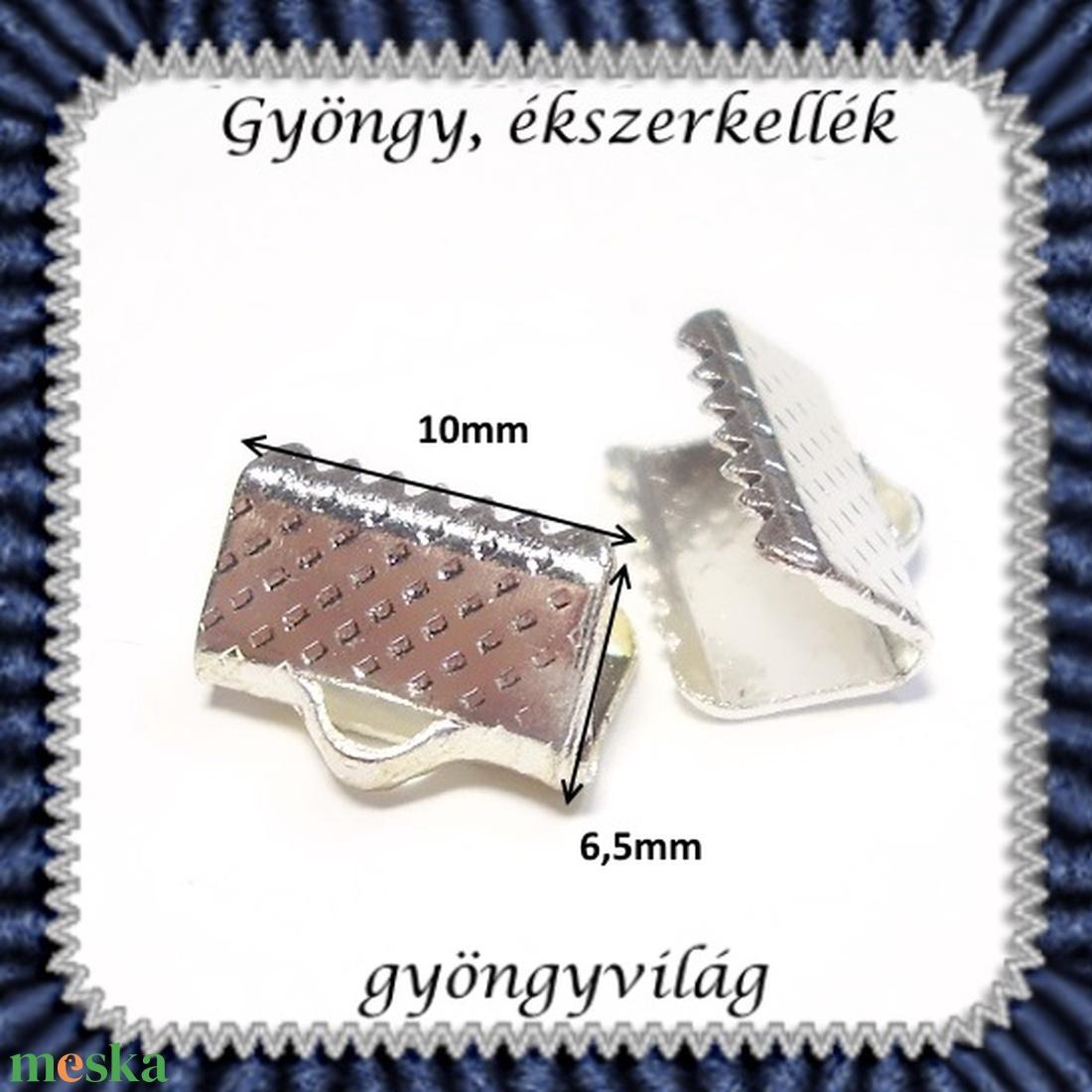Ékszerkellék: lánckapocs BLK-V11-10r  vég / szalag vég 10 db/ csomag ródiumozott - gyöngy, ékszerkellék - egyéb alkatrész - Meska.hu