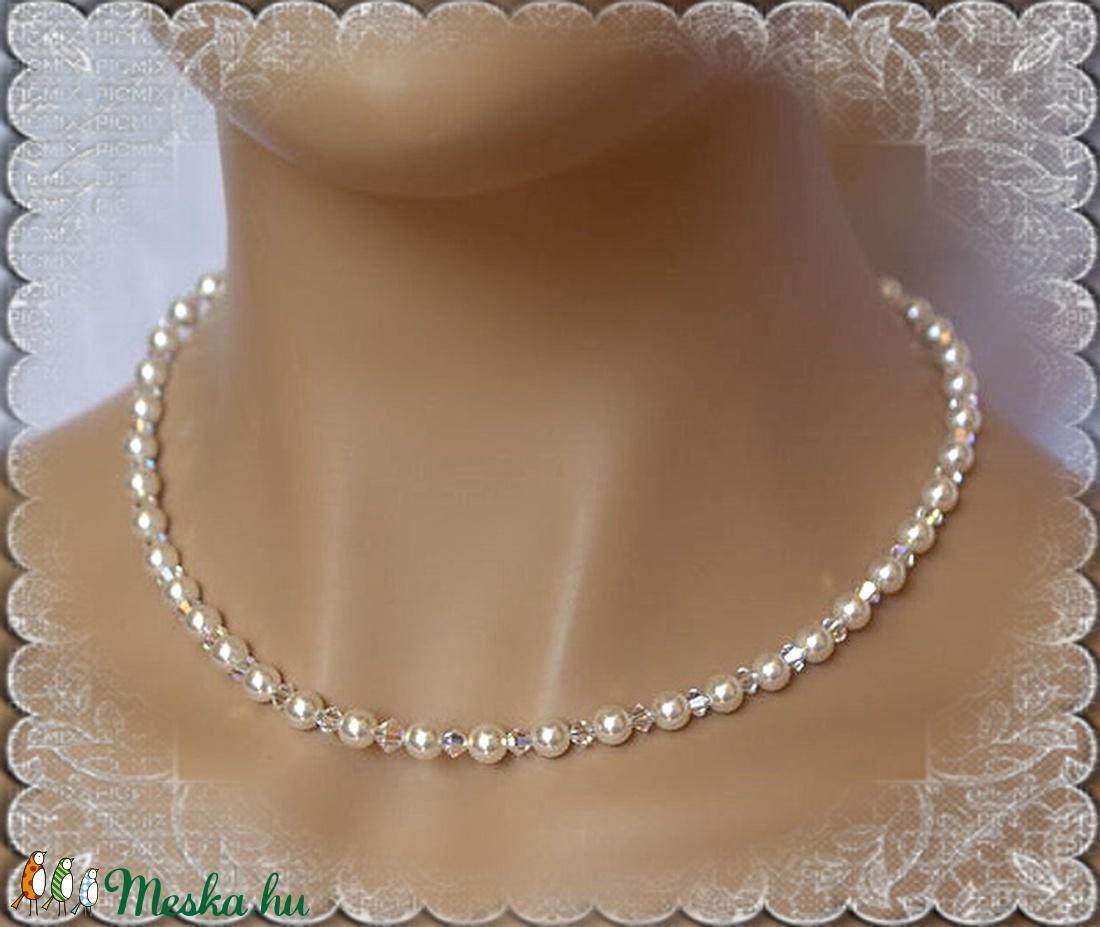Esküvői, menyasszonyi nyaklánc, swarovszki kristály SL-ESW01 - esküvő - ékszer - nyaklánc - Meska.hu