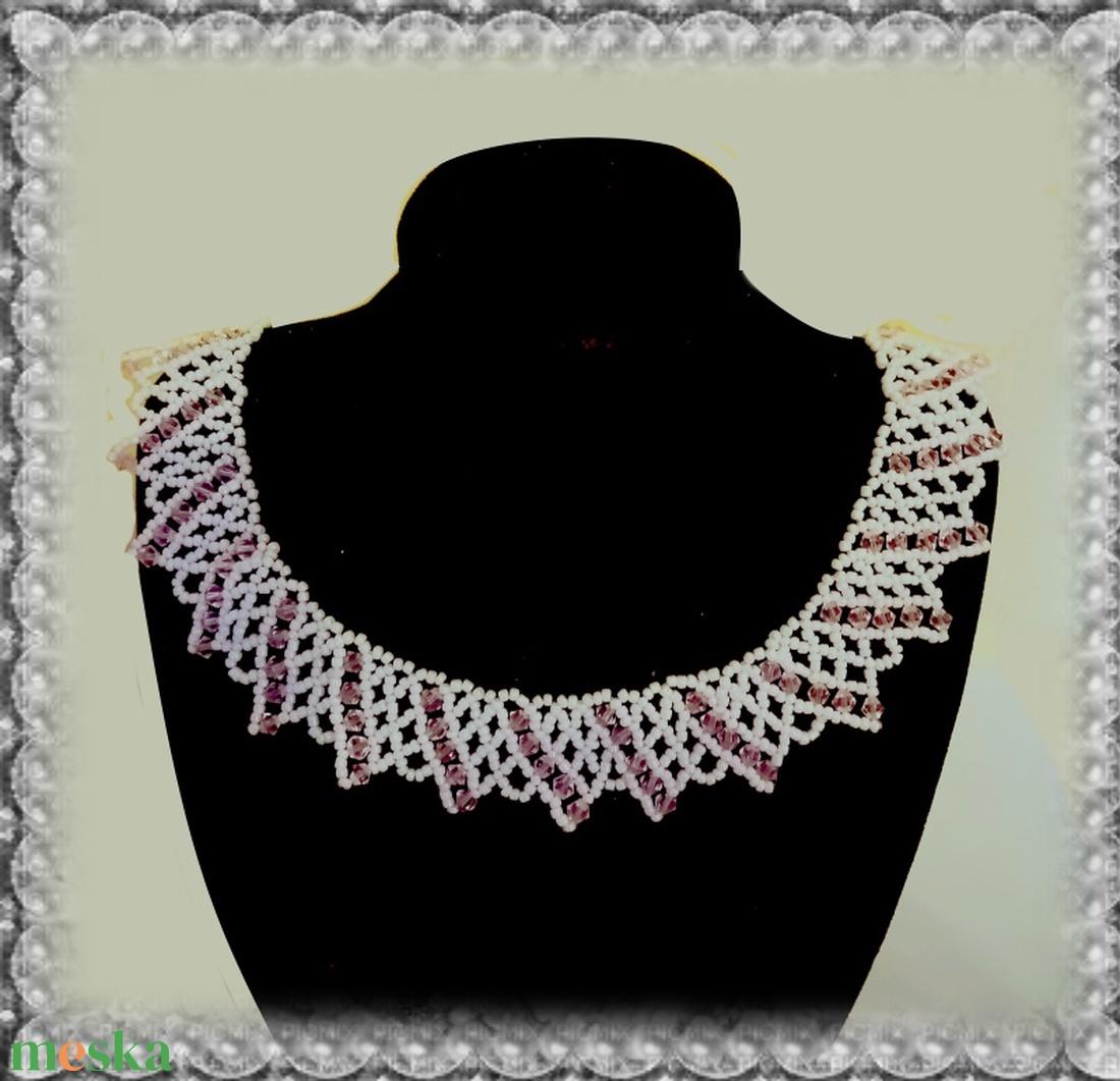 Gyöngyből fűzött koszorúslány nyaklánc SL-GY08-3 - ékszer - nyaklánc - gyöngyös nyaklác - Meska.hu