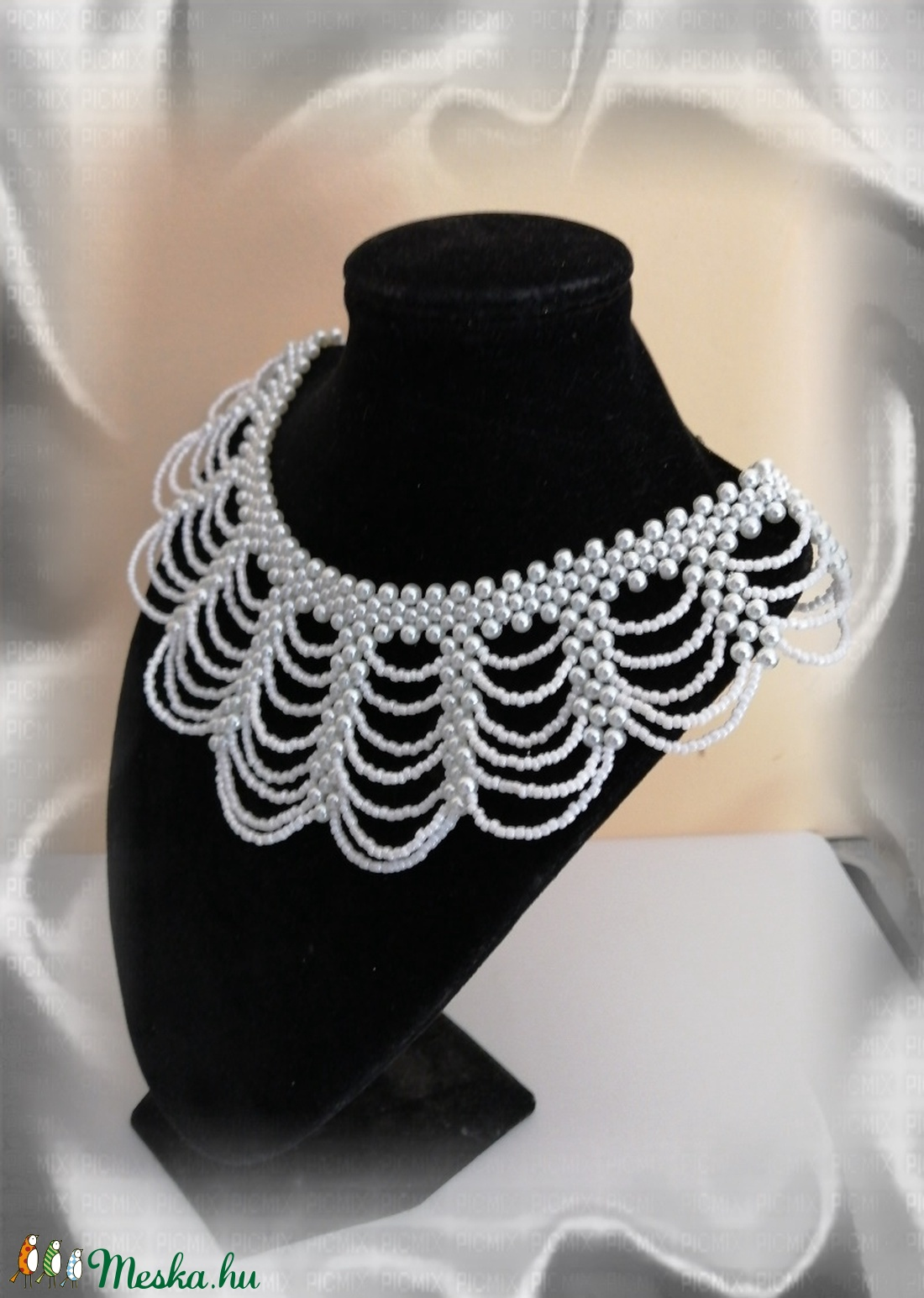 Esküvői gyöngy nyaklánc SL-GY09-1-40 - esküvő - ékszer - nyaklánc - Meska.hu