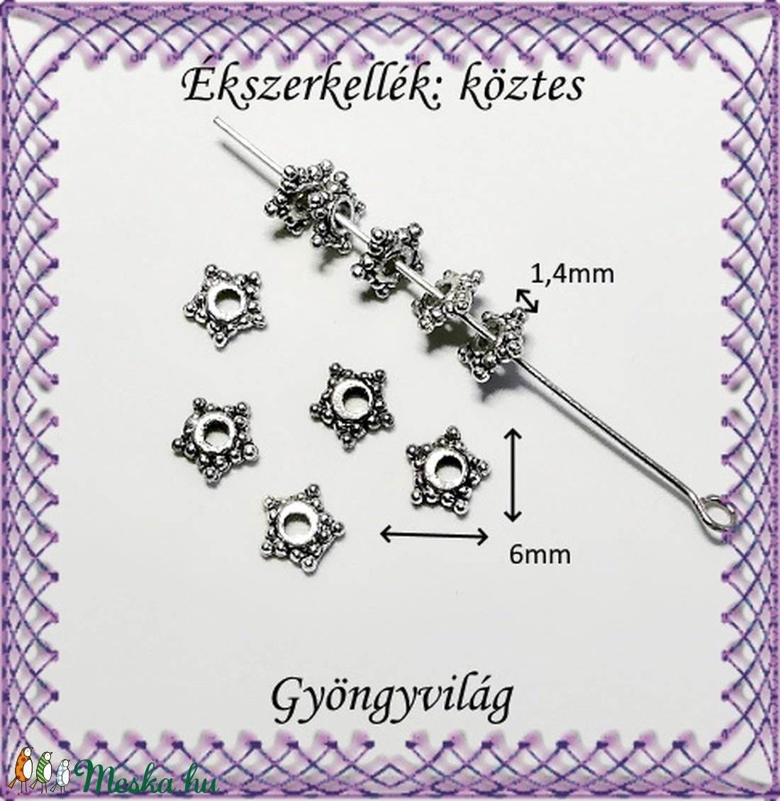 Ékszerkellék: köztes / díszítőelem / gyöngy BKÖ 1S 22-6r 15db/csomag - gyöngy, ékszerkellék - fém köztesek - Meska.hu