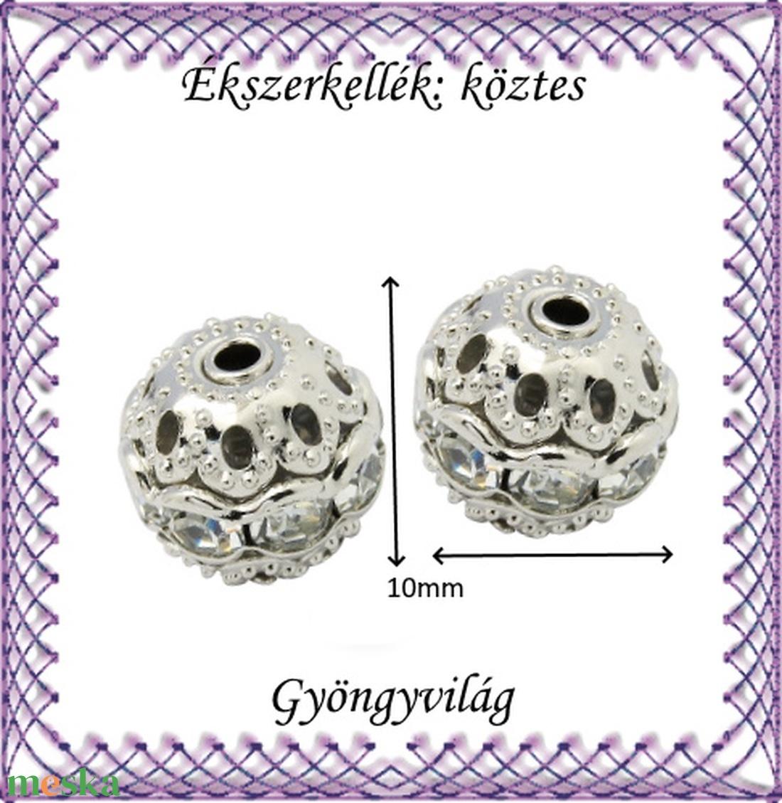 Ékszerkellék: köztes / díszítőelem / gyöngy BKÖ 1S 37-10r clear 2db/csomag - gyöngy, ékszerkellék - fém köztesek - Meska.hu