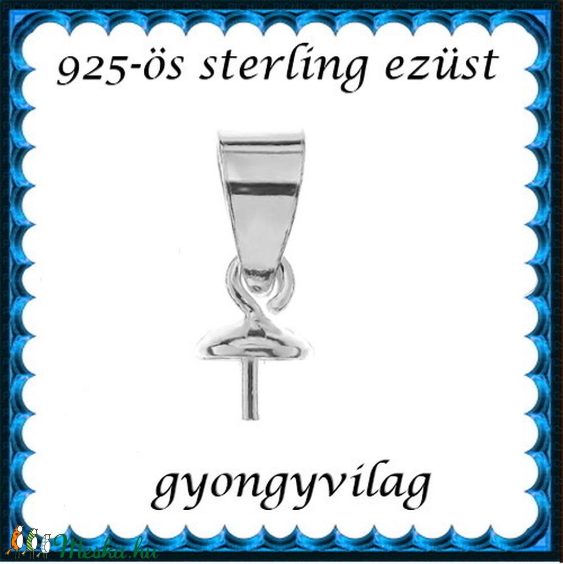 925-ös sterling ezüst ékszerkellék: medáltartó, medálkapocs EMK 108e - gyöngy, ékszerkellék - egyéb alkatrész - Meska.hu