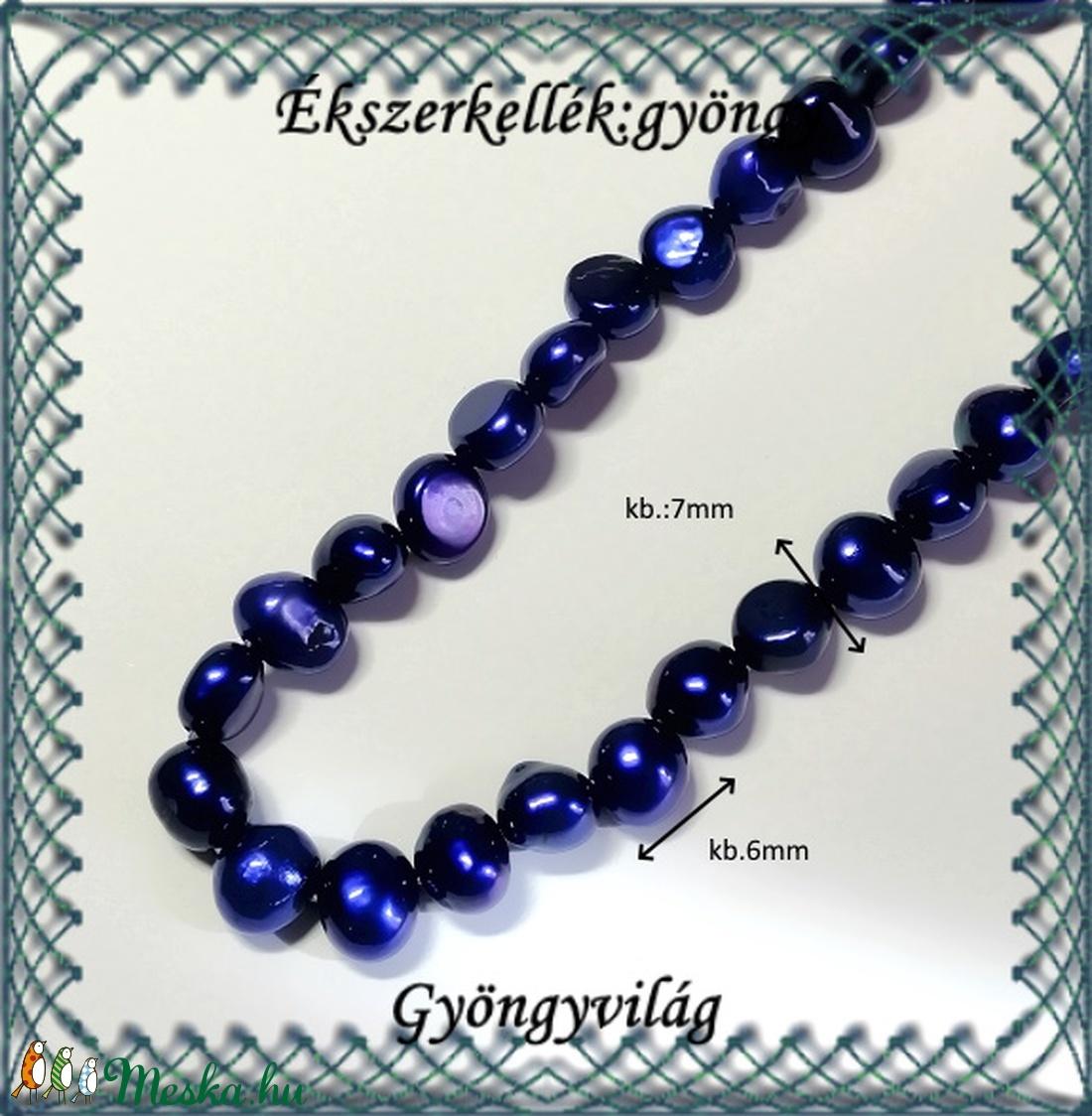 Ékszerkellék: igazgyöngy fűzér GYI-O 02 6mm kék - gyöngy, ékszerkellék - igazgyöngy - Meska.hu