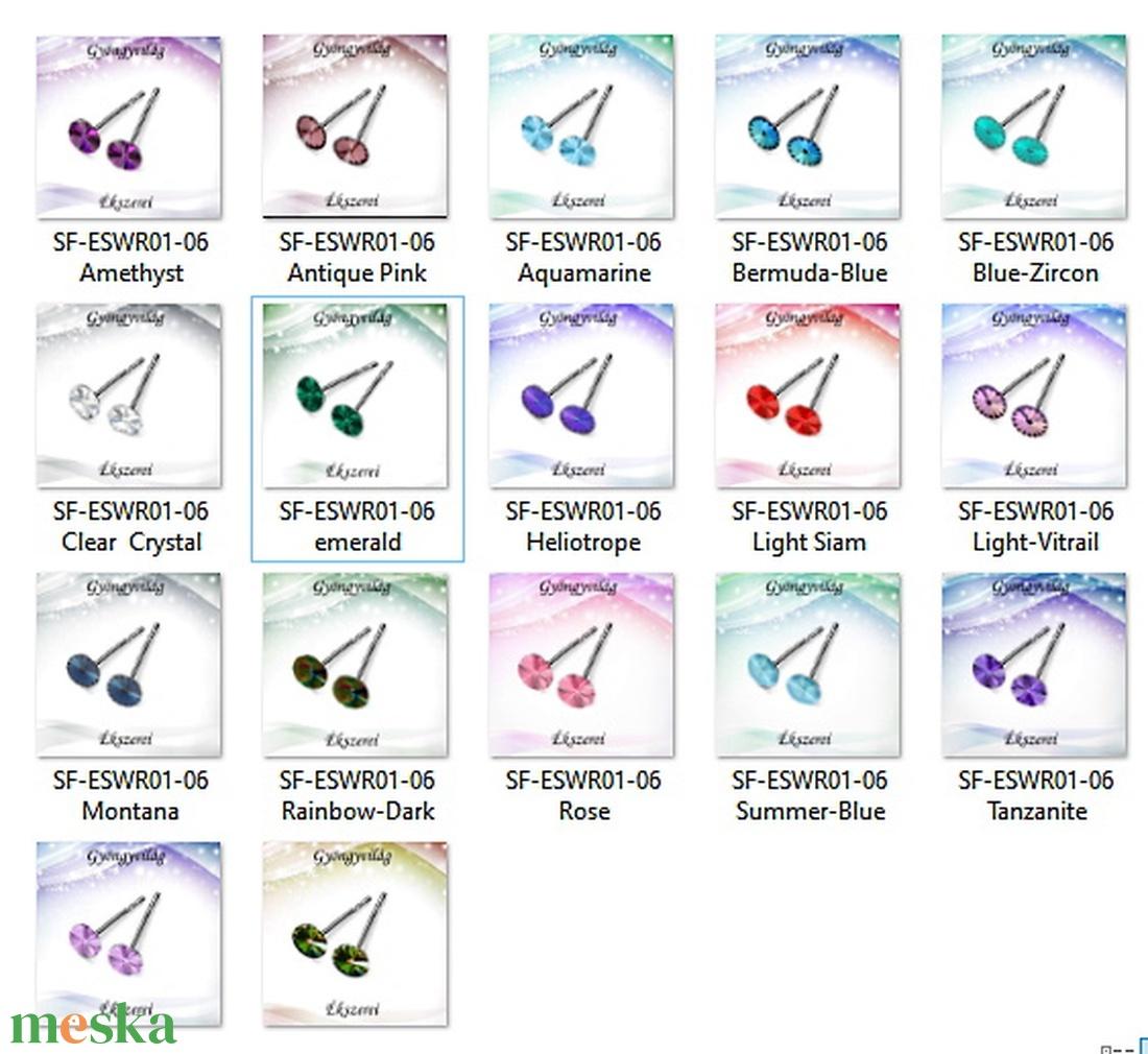 Fülbevalók: Swarovski rivoli, 925-ös sterling ezüst SFE-SWF01 több színben - ékszer - fülbevaló - pötty fülbevaló - Meska.hu