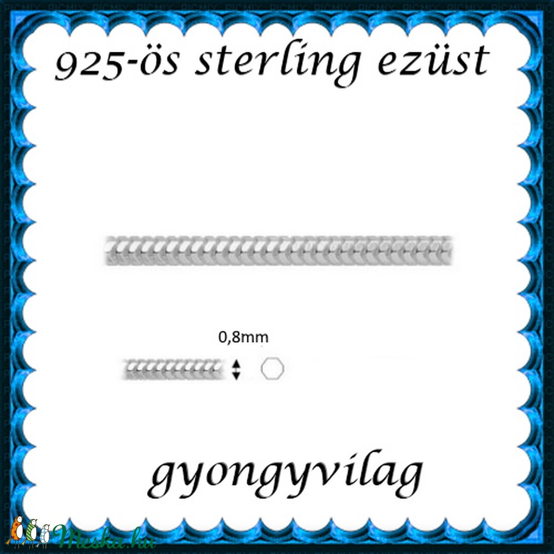 925-ös ezüst lánc méterben 925 EL03-0,8 - gyöngy, ékszerkellék - Meska.hu