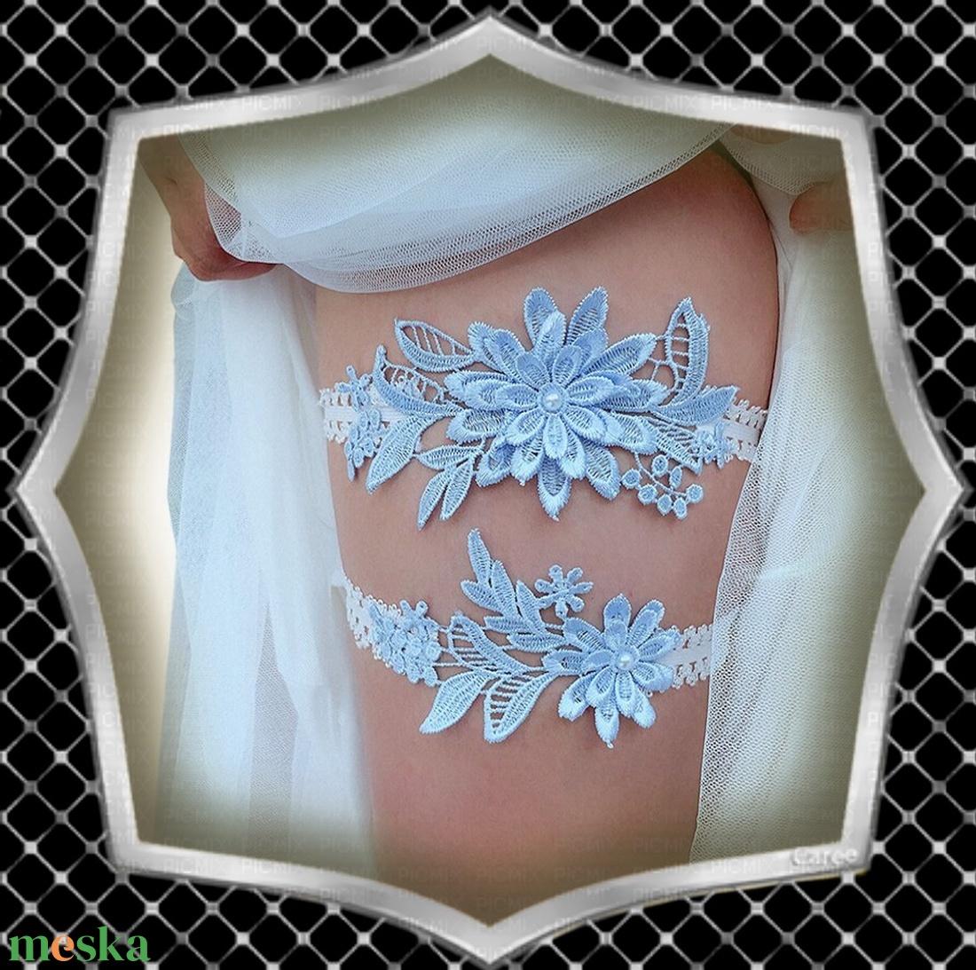 Esküvői, menyasszonyi harisnyakötő szett  ES-HK01-1 - esküvő - kiegészítők - harisnyatartó & valami kék - Meska.hu