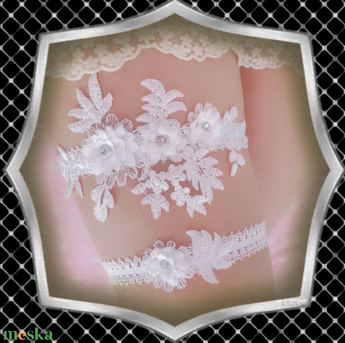 Esküvői, menyasszonyi harisnyakötő szett  ES-HK04-1 - esküvő - kiegészítők - harisnyatartó & valami kék - Meska.hu