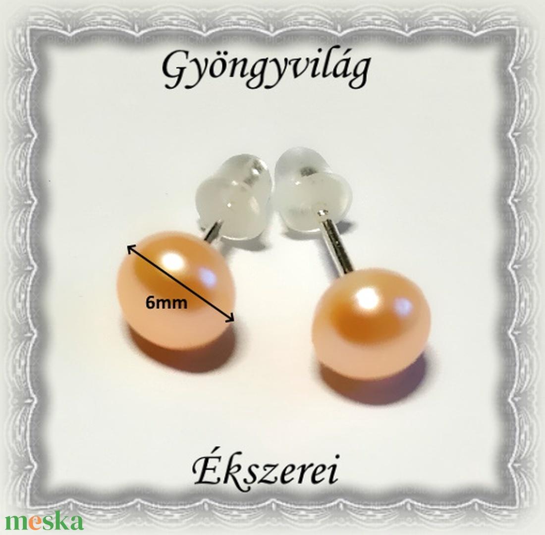 Fülbevalók: igazgyöngy , 925-ös sterling ezüst SFE-IGY01-6 több színben - ékszer - fülbevaló - pötty fülbevaló - Meska.hu