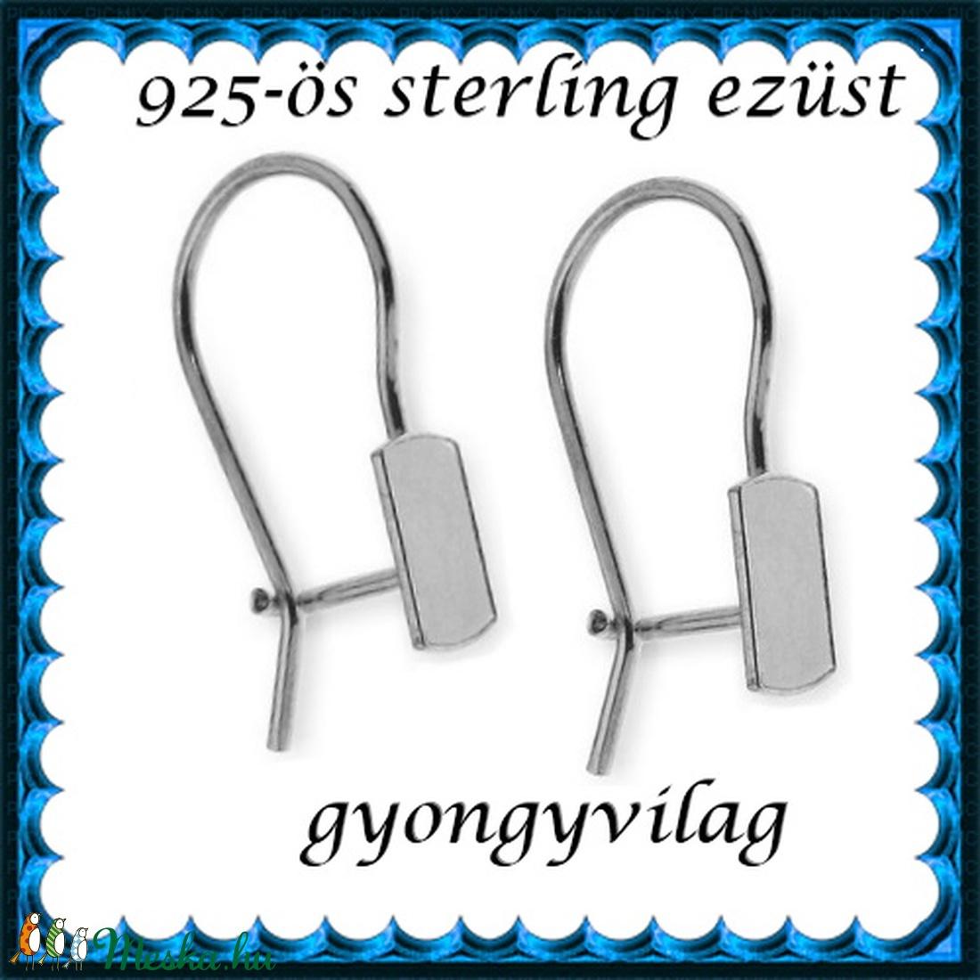 925-ös sterling ezüst ékszerkellék: fülbevalóalap biztonsági kapoccsal EFK K 27 - gyöngy, ékszerkellék - egyéb alkatrész - Meska.hu