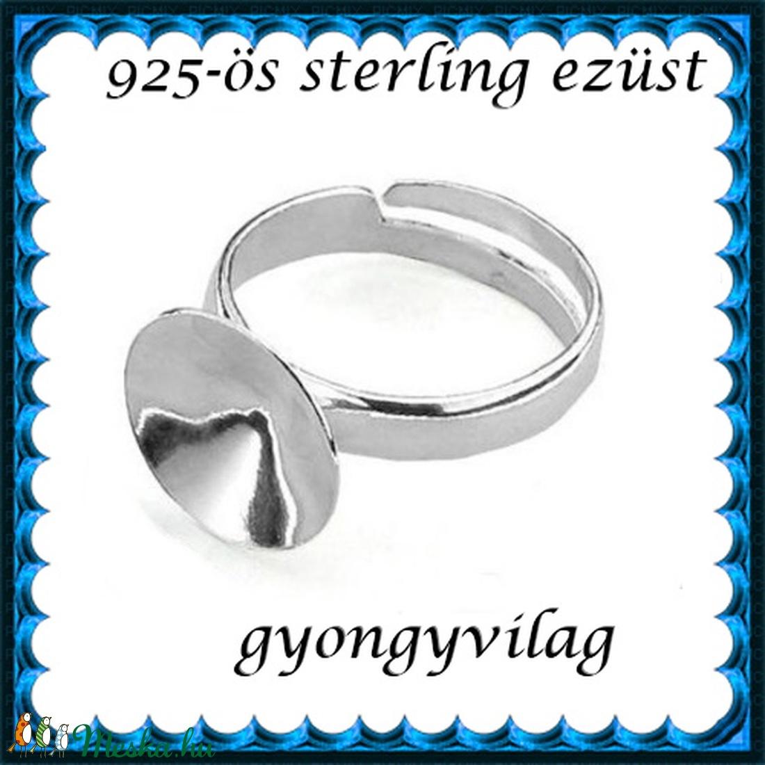 925-ös sterling ezüst gyűrű alap EGY 05-14 állítható méret - gyöngy, ékszerkellék - fém köztesek - Meska.hu