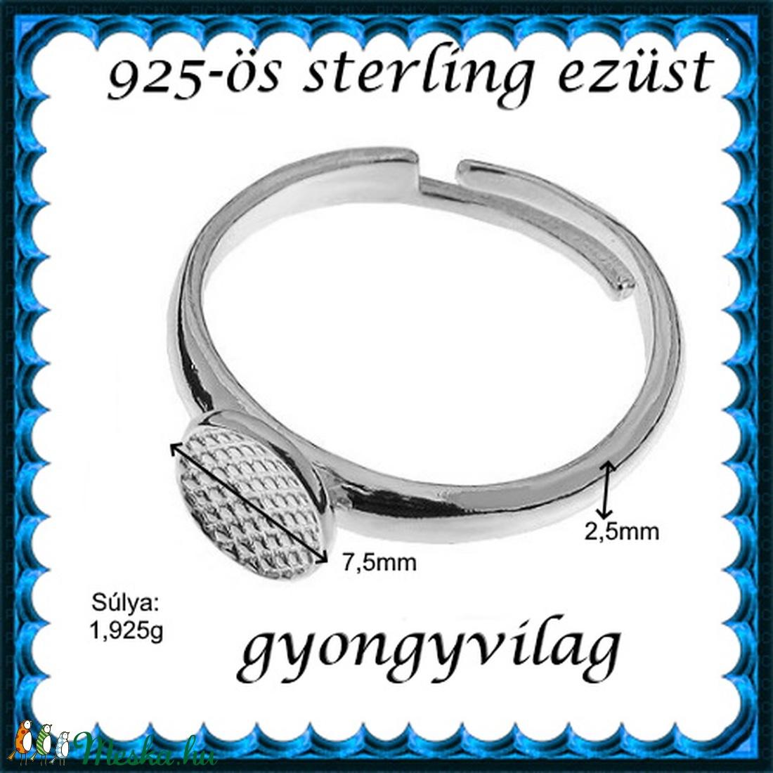 925-ös sterling ezüst gyűrű alap EGY 06 állítható méret - gyöngy, ékszerkellék - fém köztesek - Meska.hu