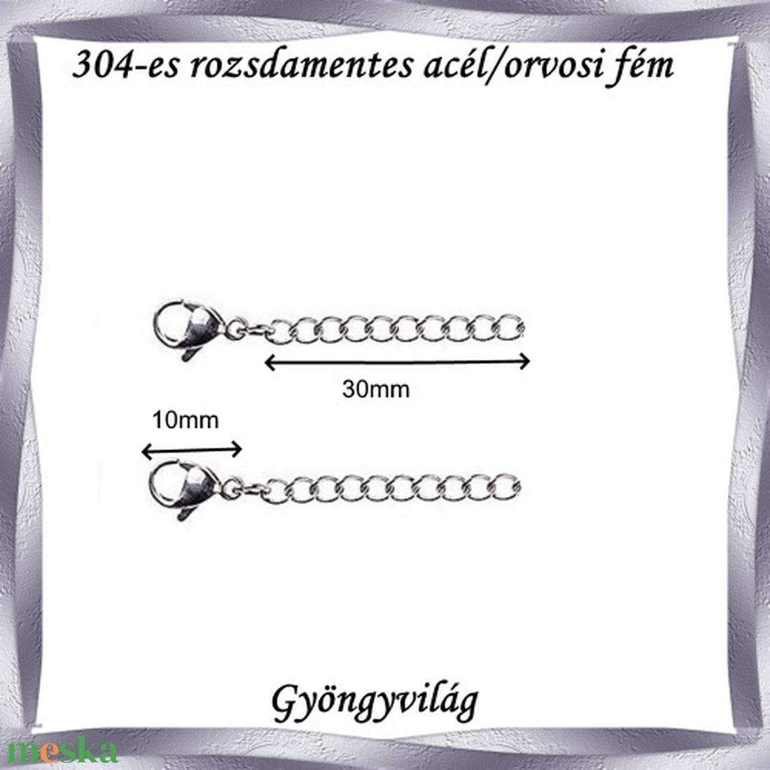 Nemes acél ékszerkellék: lánckapocs NALK 01-3  - gyöngy, ékszerkellék - egyéb alkatrész - Meska.hu