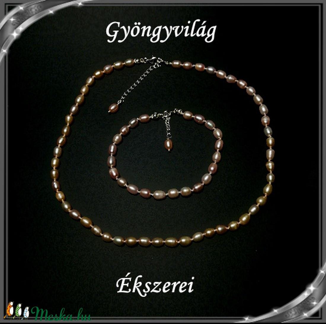 Édesvizi igazgyöngy nyaklánc-karkötő szett, 925-ös ezüst kapoccsal SSZE-IG01 mauve - ékszer - ékszerszett - Meska.hu