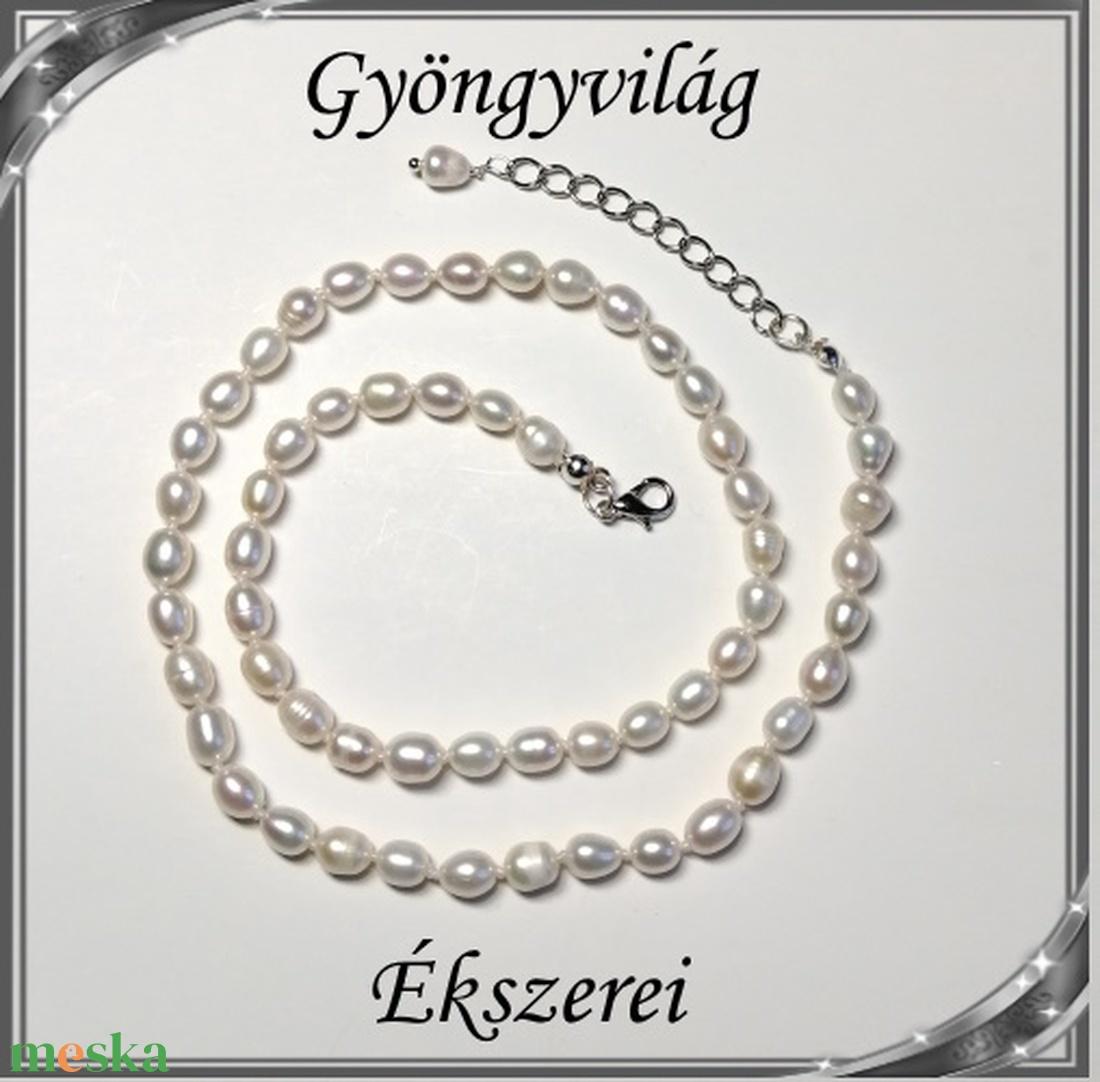 Édesvizi igazgyöngy szett, ezüstözött kapoccsal SSZEB-IG05 6x5 fehér - ékszer - ékszerszett - Meska.hu
