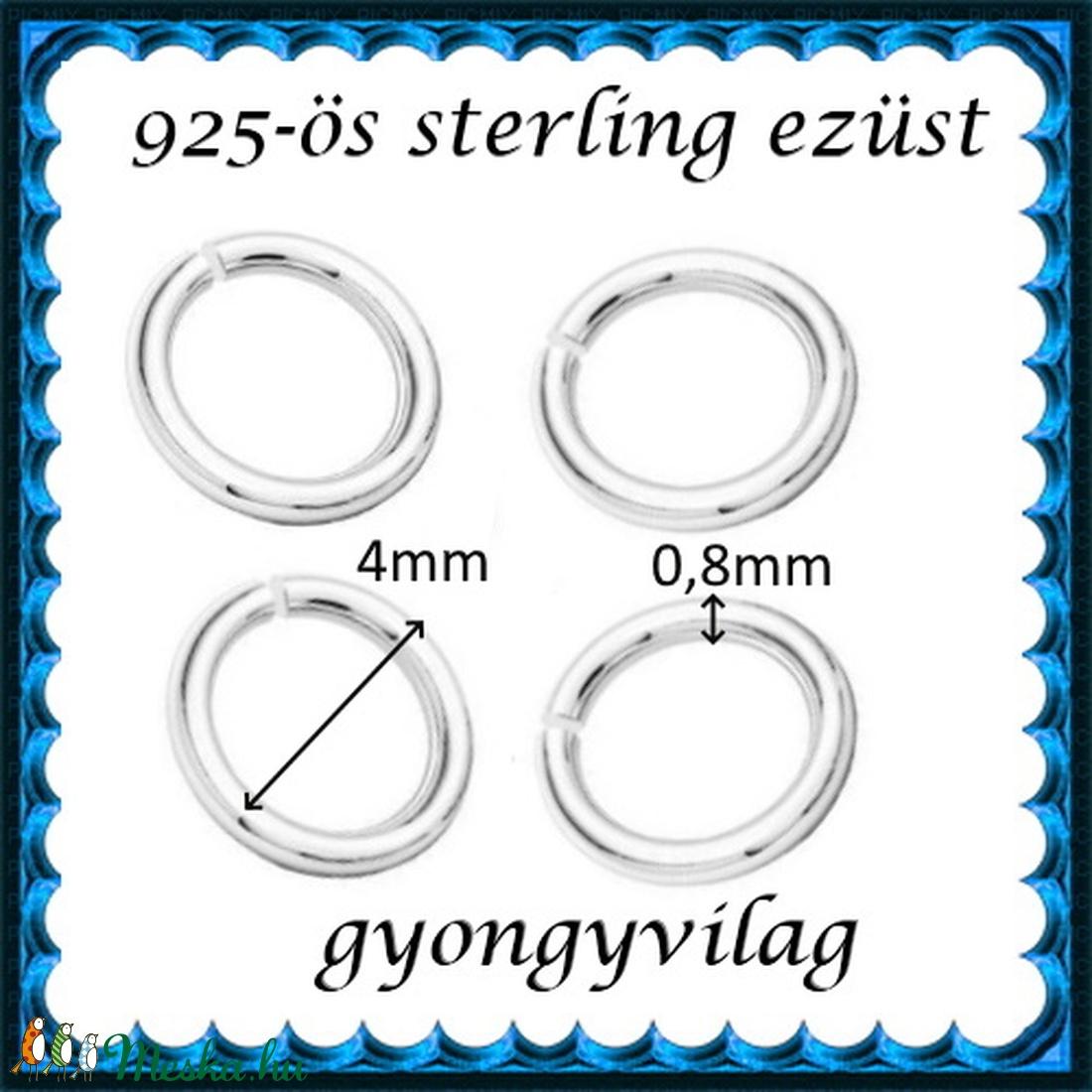 925-ös ezüst szerelőkarika nyitott ESZK NY 4x0,8 mm-es  4db/ csomag - gyöngy, ékszerkellék - egyéb alkatrész - Meska.hu