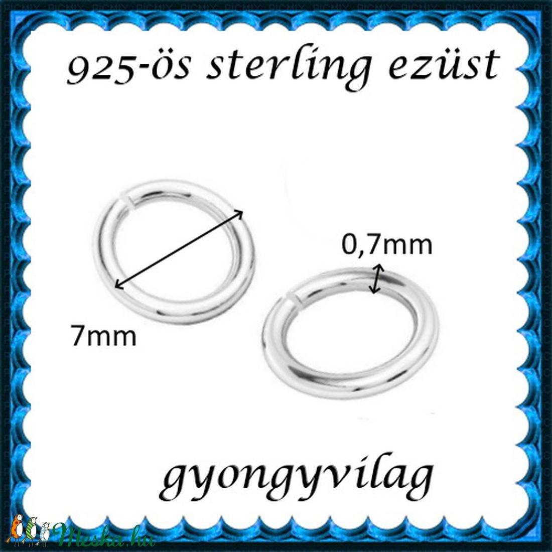 925-ös ezüst szerelőkarika nyitott ESZK NY 7 x 0,7 mm-es  2db/csomag - gyöngy, ékszerkellék - egyéb alkatrész - Meska.hu