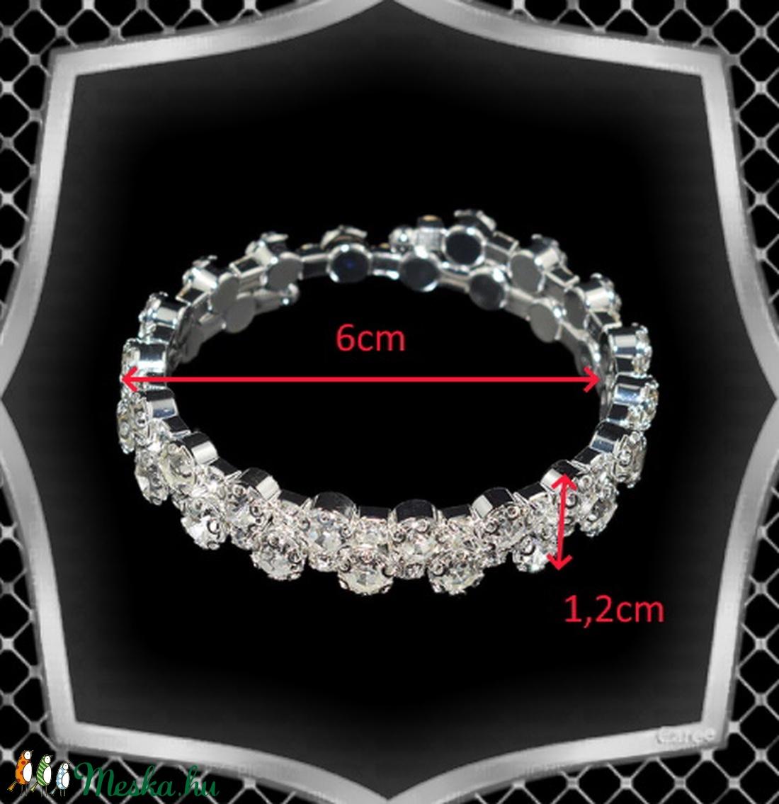 Két soros kristály karkötő ES-K04-2e fehér - ékszer - karkötő - széles karkötő - Meska.hu