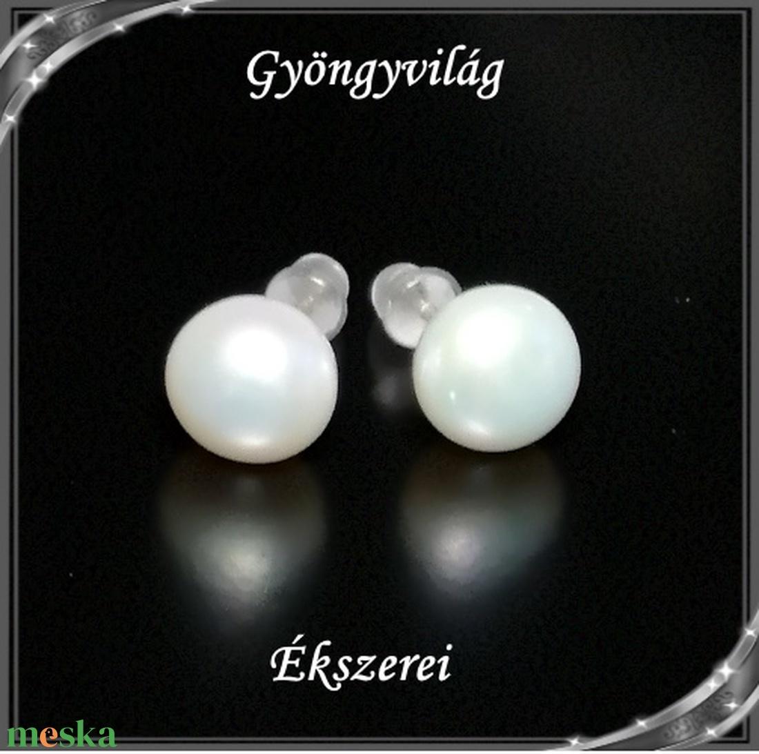 Fülbevalók: igazgyöngy , 925-ös sterling ezüst SFE-IGY02-8  - ékszer - fülbevaló - pötty fülbevaló - Meska.hu