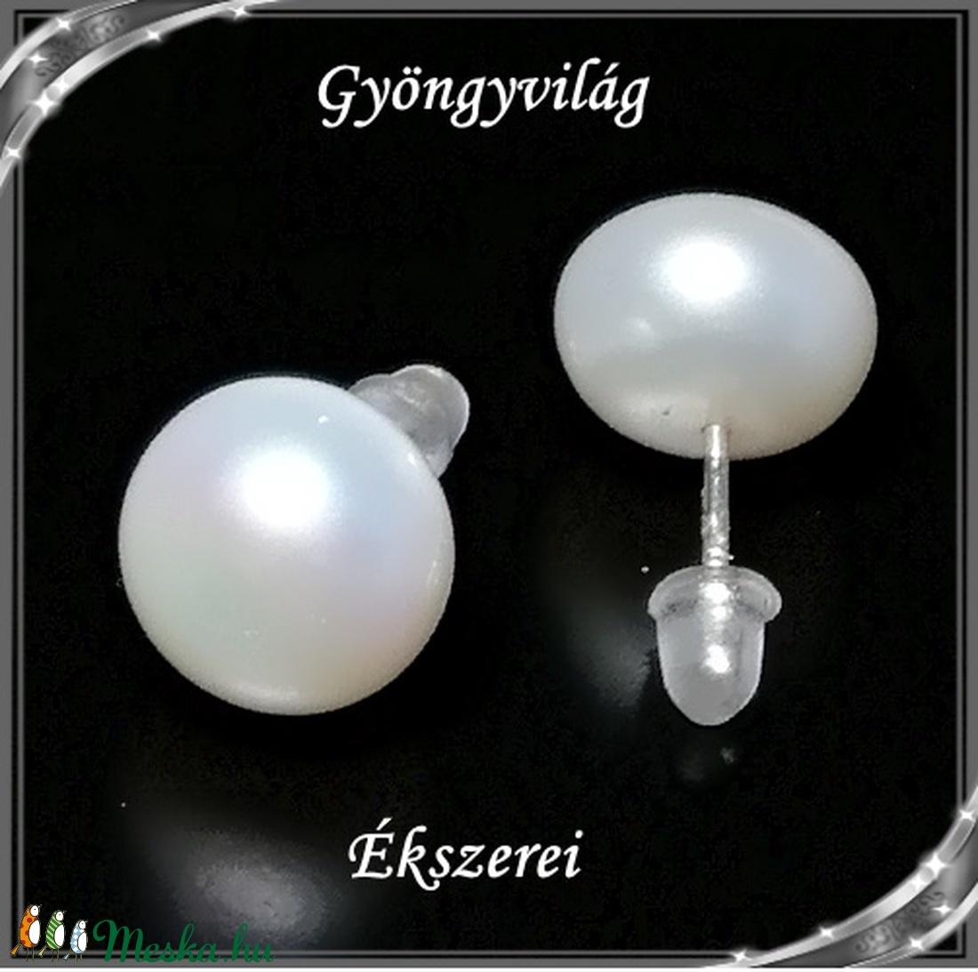 Fülbevalók: igazgyöngy , 925-ös sterling ezüst SFE-IGY02-11 - ékszer - fülbevaló - pötty fülbevaló - Meska.hu