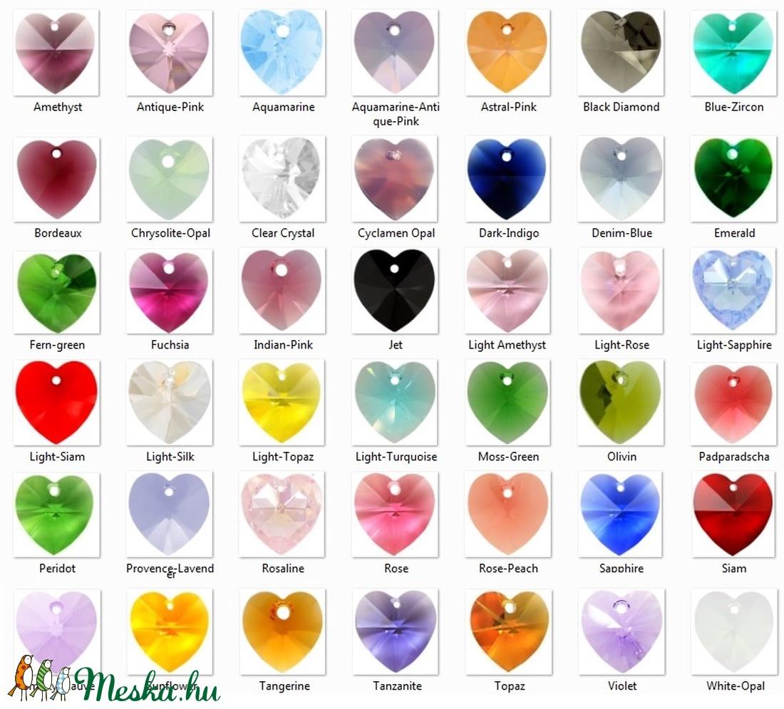 Ékszerek-szettek: Swarovski kristály fülbevaló-medál -10-18mm-es szív szett több színben - ékszer - ékszerszett - Meska.hu