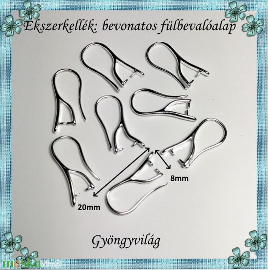 Ezüstel bevont ékszerkellék: fülbevalóalap  E925-FK05 4pár/cs - gyöngy, ékszerkellék - egyéb alkatrész - Meska.hu