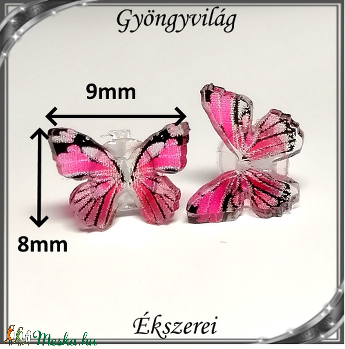 Kristály 3D-s pillangó szilikon fülbevaló 8x9mm-es SFSZ-K06 - ékszer - fülbevaló - pötty fülbevaló - Meska.hu