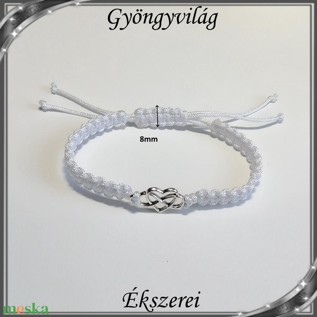 Ékszerek-karkötők: Makramé karkötő SK-M 01 fehér - ékszer - karkötő - gyöngyös karkötő - Meska.hu