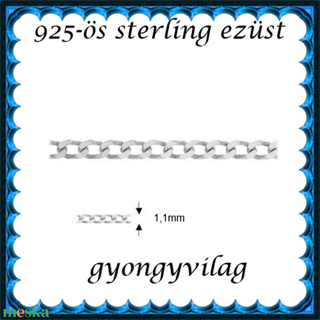 925-ös sterling ezüst ékszerkellék: lánc méterben 925 EL06-1,1e - gyöngy, ékszerkellék - Meska.hu