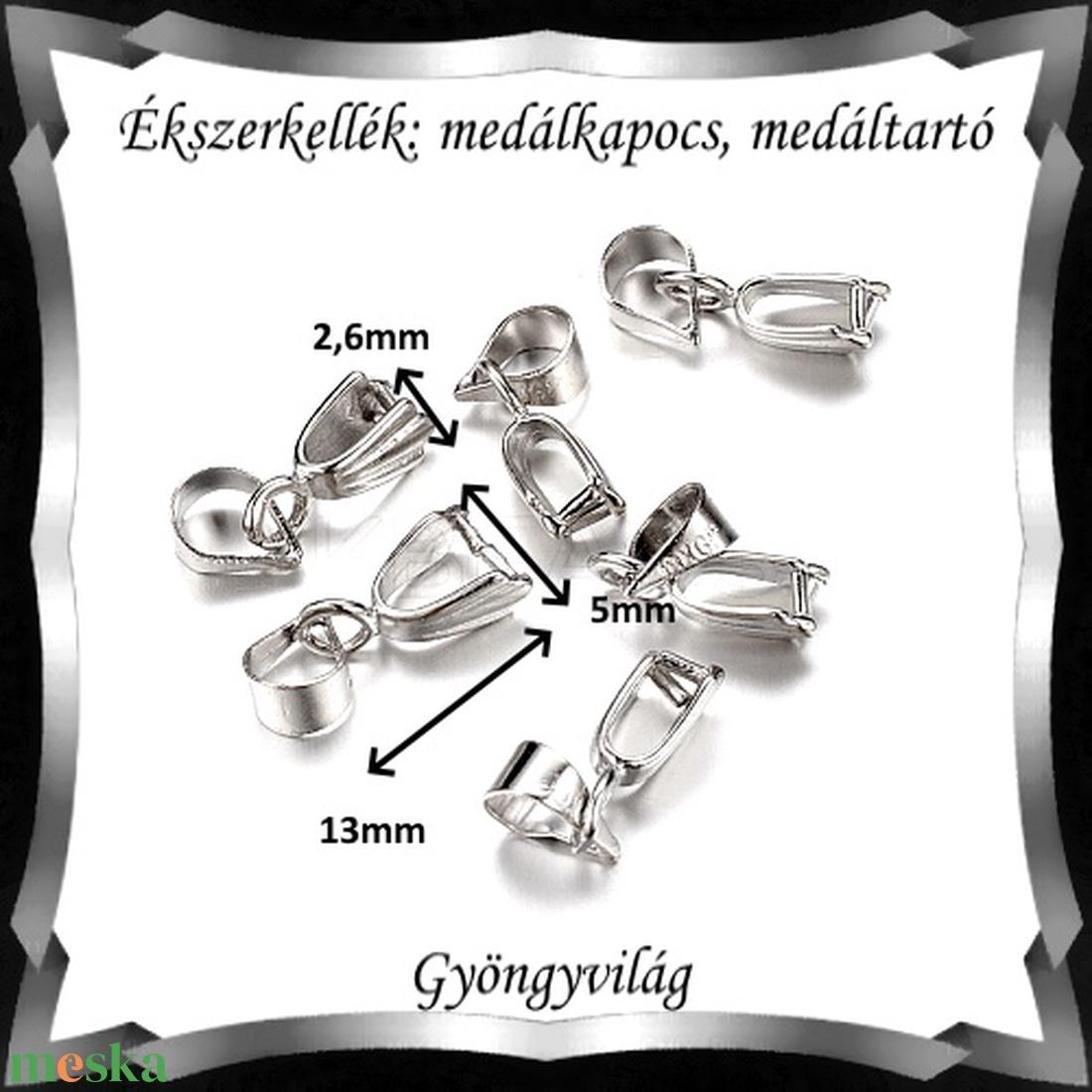Ezüstözött medálkapocs 5db/cs BMK 08-13p - gyöngy, ékszerkellék - egyéb alkatrész - Meska.hu