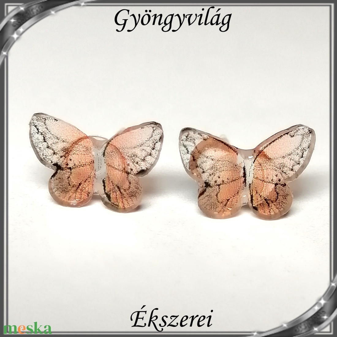 Pillangó szilikon fülbevaló 7x10,5mm-es SFSZ-K07 - ékszer - fülbevaló - pötty fülbevaló - Meska.hu