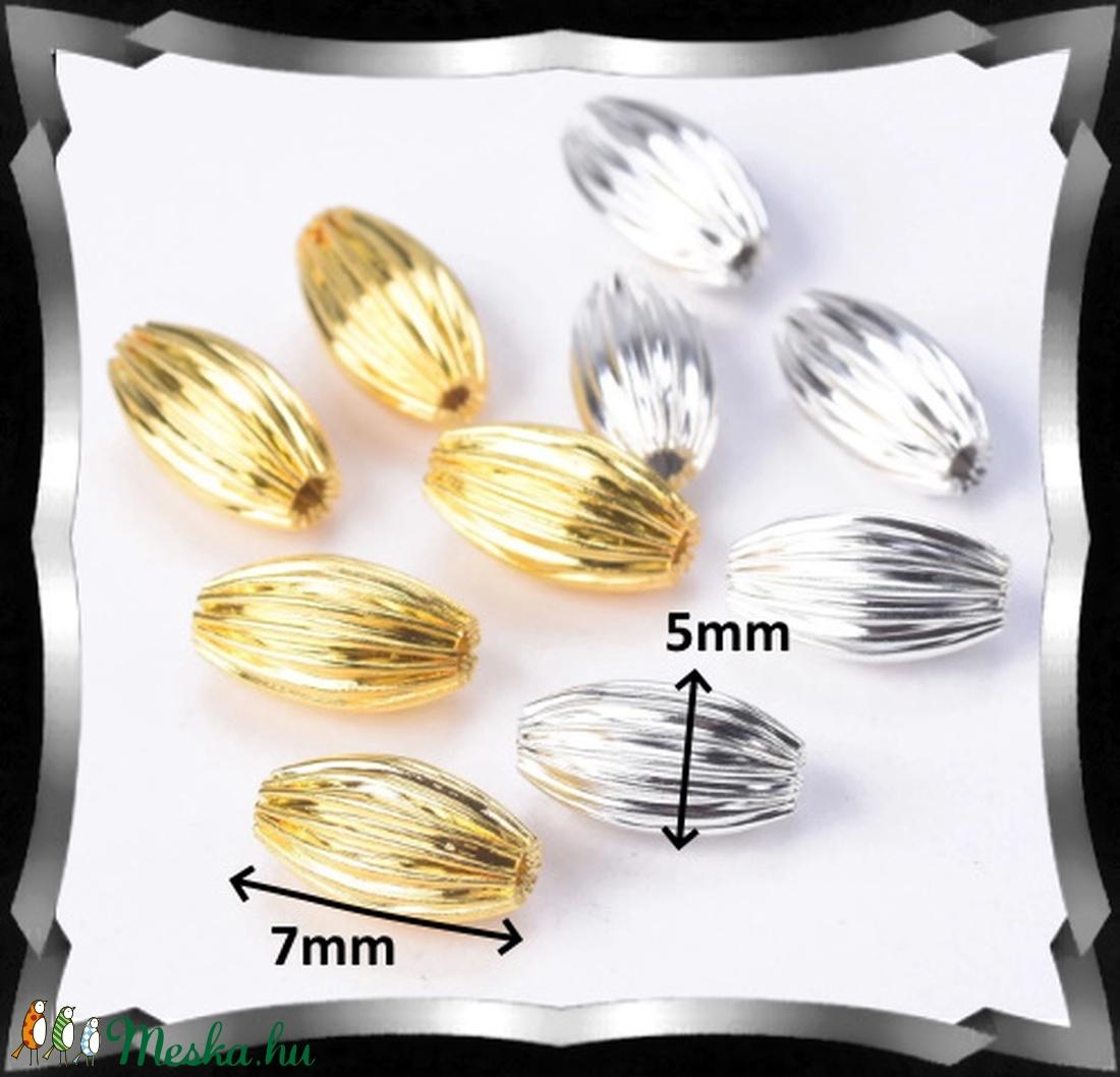 Ékszerkellék: gyöngy, fém gyöngy BGY F 01O 5X8 10db/csomag ezüst/arany - gyöngy, ékszerkellék - fém köztesek - Meska.hu