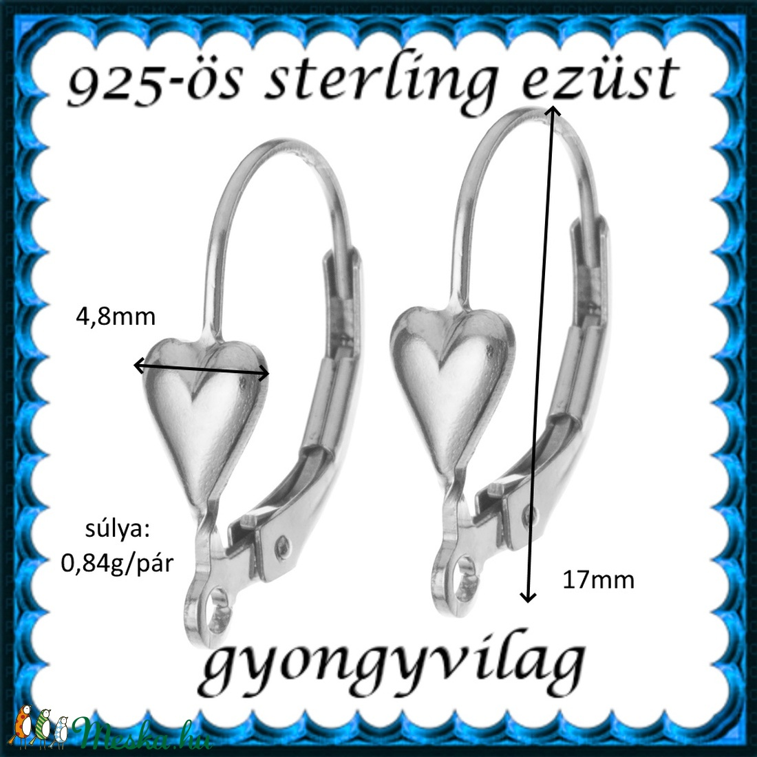 925-ös sterling ezüst ékszerkellék: fülbevalóalap biztonsági kapoccsal EFK K 38 - gyöngy, ékszerkellék - egyéb alkatrész - Meska.hu