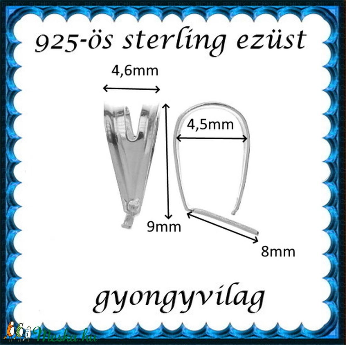 925-ös sterling ezüst ékszerkellék: medáltartó, medálkapocs EMK 113e - gyöngy, ékszerkellék - egyéb alkatrész - Meska.hu