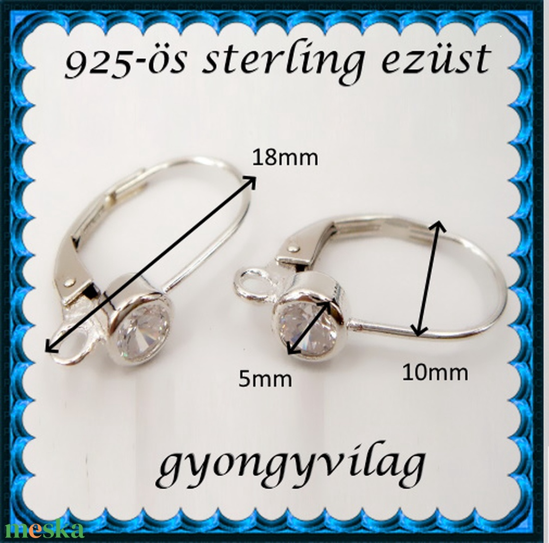 925-ös sterling ezüst ékszerkellék: fülbevalóalap biztonsági kapoccsal EFK K 39 - gyöngy, ékszerkellék - egyéb alkatrész - Meska.hu