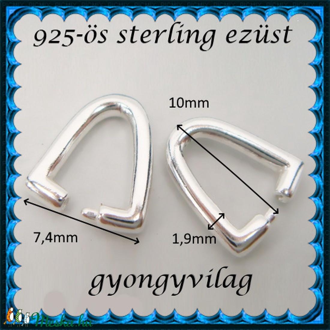 925-ös sterling ezüst ékszerkellék: medáltartó, medálkapocs EMK 114e - gyöngy, ékszerkellék - egyéb alkatrész - Meska.hu