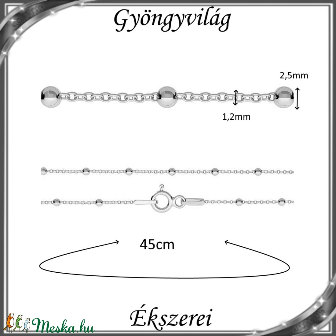 Ékszerek-nyakláncok: 925-ös sterling ezüst lánc SSZ EÜL 08-45e - ékszer - nyaklánc - medál nélküli nyaklánc - Meska.hu