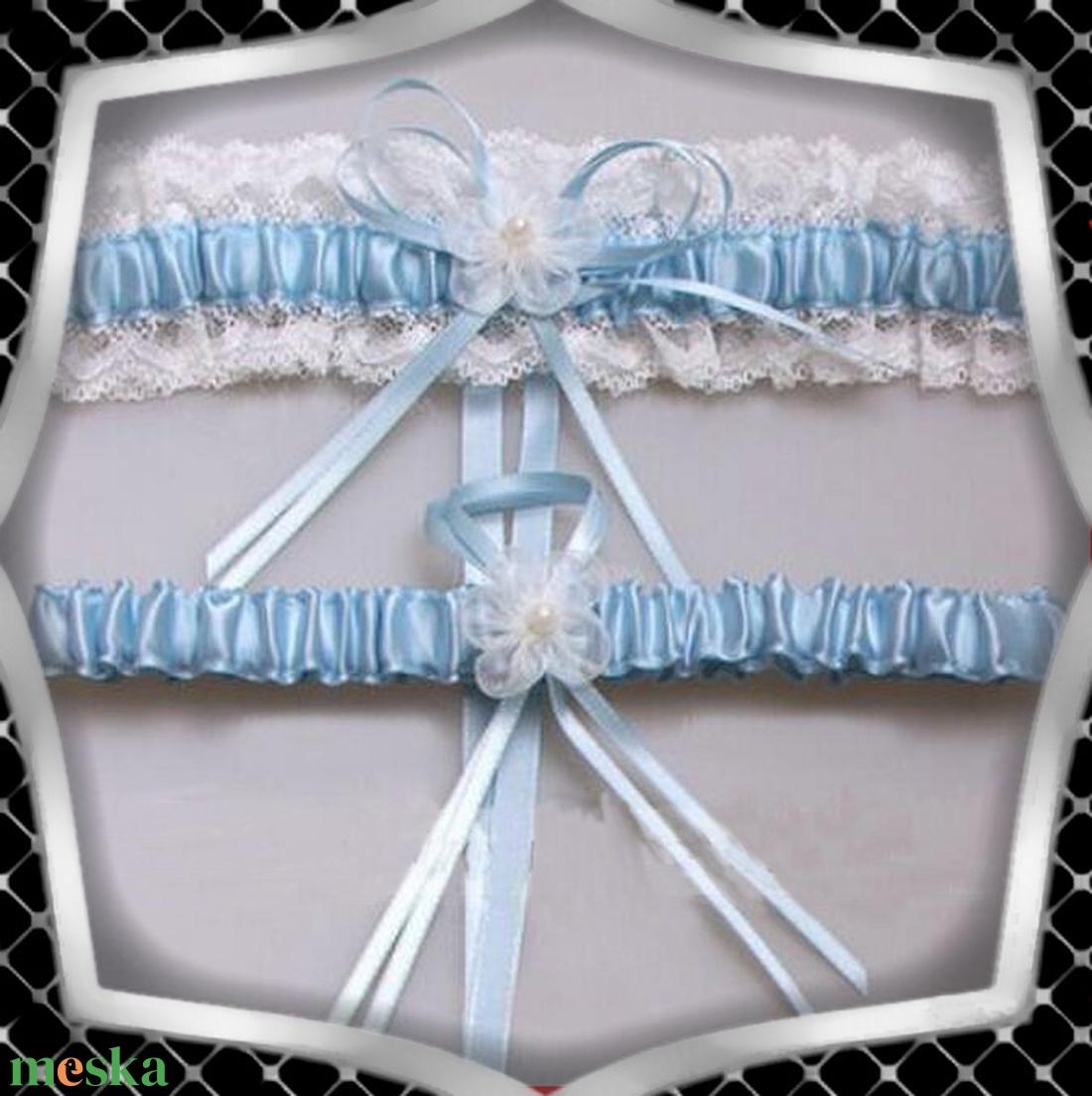 Esküvői, menyasszonyi harisnyakötő szett  ES-HK25 K - esküvő - kiegészítők - harisnyatartó & valami kék - Meska.hu